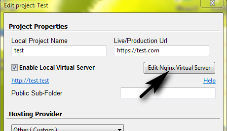 Edit Nginx Local Virtual Server