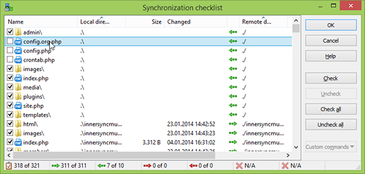Sync with WinSCP